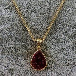 Pink Druzy Pendant Necklace